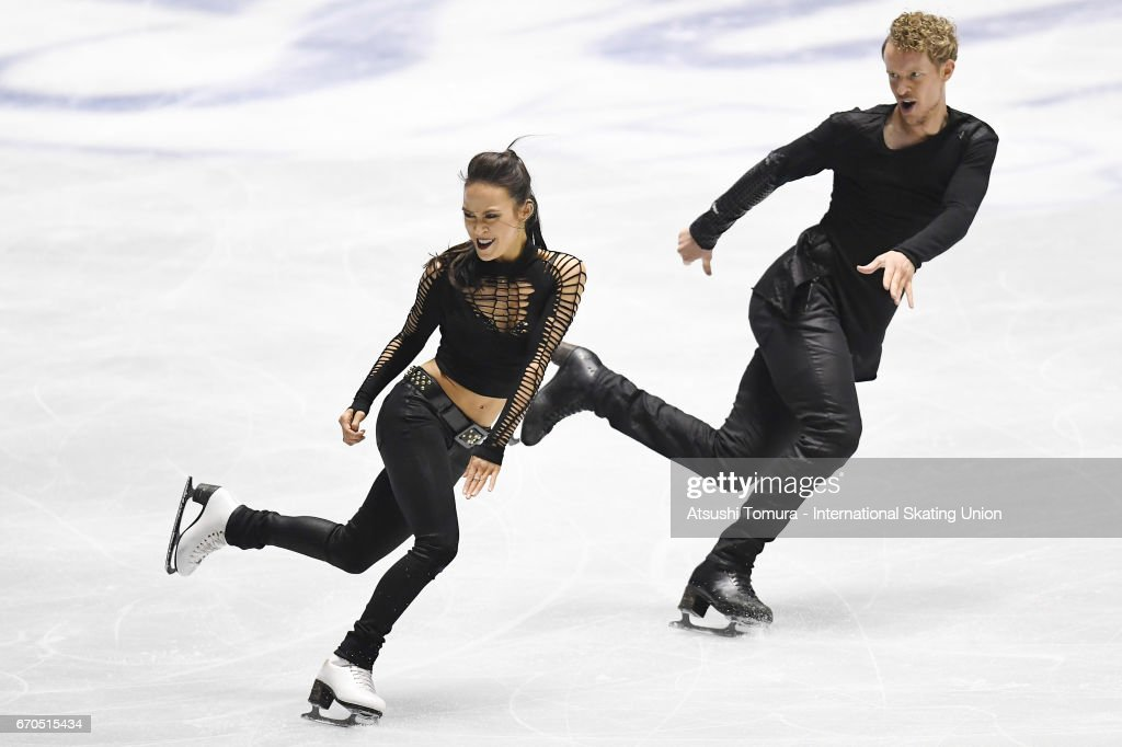Madison Chock and Evan Bates of the USA compete in the Ice dance short dance during the 1st day of the ISU World Team Trophy 2017 on April 20, 2017 in Tokyo, Japan.