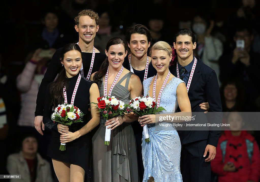Madison Chock and Evan Bates of the USA win Silver, Tessa Virtue and Scott Moir of Canada win Gold and Piper Gilles and Paul Poirier of Canada win Bronze following the Ice Dance Free Program during the ISU Grand Prix of Figure Skating Skate Canada International at Hershey Centre on October 29, 2016 in Mississauga, Canada.