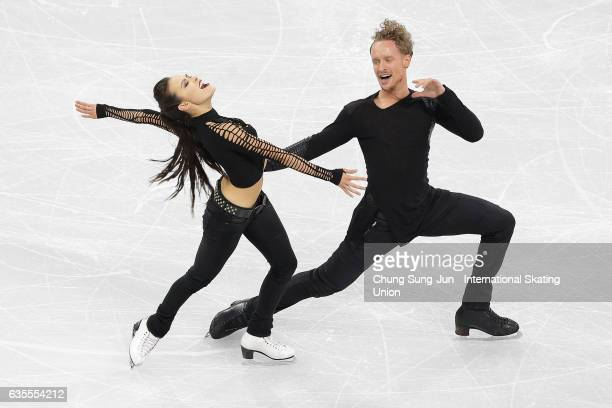 Madison Chock and Evan Bates of United States compete in the Ice Dance Short during ISU Four Continents Figure Skating Championships Gangneung Test...