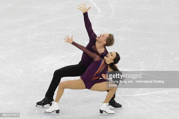 Madison Chock and Evan Bates of United States compete in the Ice Dance Free program during ISU Four Continents Figure Skating Championships Gangneung...