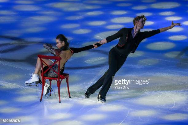 Madison Chock and Evan Bates of United States perform during exhibition program of Audi Cup of China ISU Grand Prix of Figure Skating 2017 at Beijing...