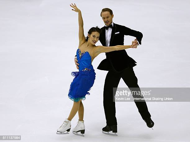 Madison Chock and Evan Bates of United States perform during the Ice Dance Short Dance on day one of the ISU Four Continents Figure Skating...