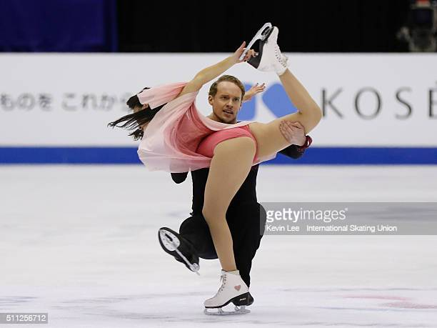 Madison Chock and Evan Bates of United States perform during the Ice Dance Free Dance on day two of the ISU Four Continents Figure Skating...