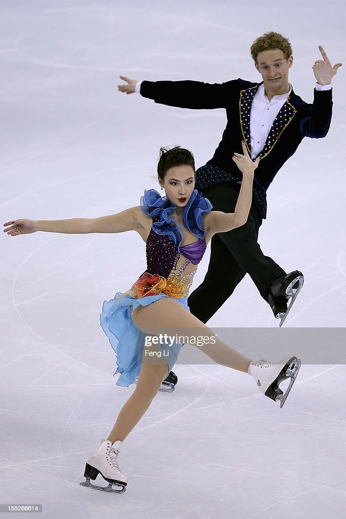 Madison Chock and Evan Bates of United States skate in Ice Dance Short Dance during Cup of China ISU Grand Prix of Figure Skating 2012 at the Oriental Sports Center on November 2, 2012 in Shanghai, China.