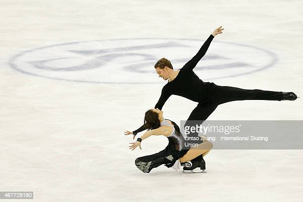 Madison Chock and Evan Bates of United Status perform during the Ice Dance-Free Dance on day three of the 2015 ISU World Figure Skating Championships...