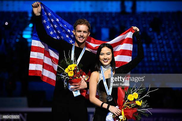 Madison Chock and Evan Bates of USA pose for the media during the medals ceremony during day three of the ISU Grand Prix of Figure Skating Final...