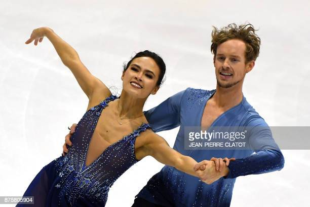 USA Madison Chock and Evan Bates perform during the Ice Dance Free dance during the Internationaux de France ISU Grand Prix of Figure Skating in...