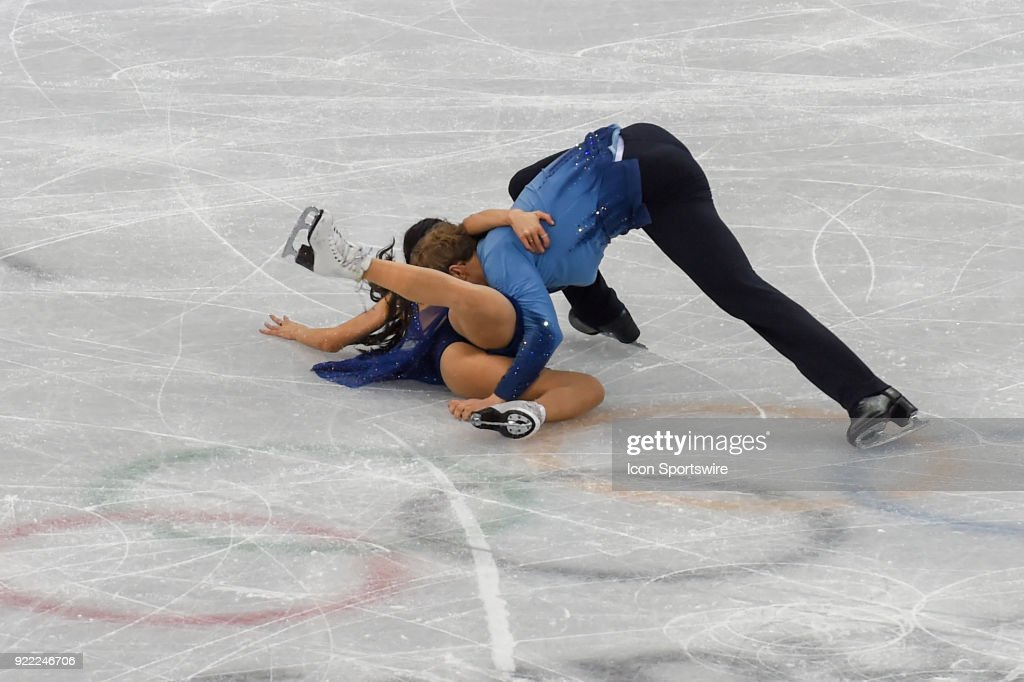 Madison Chock and Evan Bates (USA) skate in the free dance of the Ice Dancing competition during the 2018 Winter Olympic Games at the Gangneung Ice Arena on February 20, 2018 in PyeongChang, South Korea.