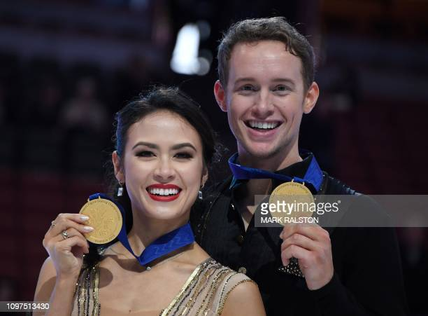 Madison Chock and her partner Evan Bates of the USA celebrate after winning the Ice Dance competition during the ISU Four Continents Figure Skating...
