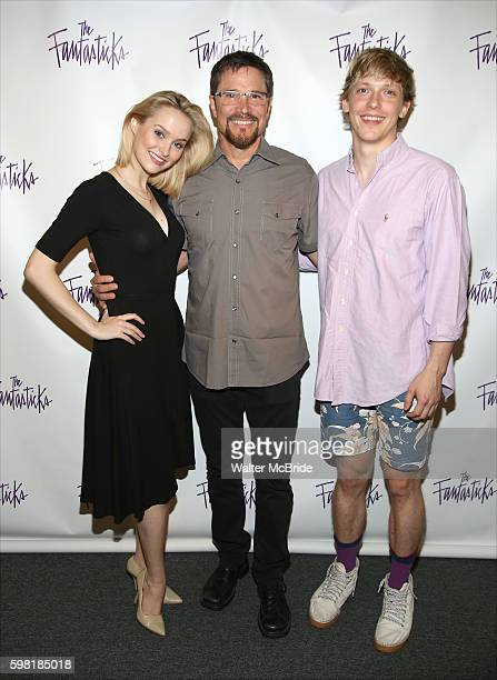 Madison Claire Parks Peter Reckell and Andrew Polec attend a press day for OffBroadway's 'The Fantasticks' at The Theater Center on August 31 2016 in...
