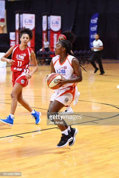 Madison Cockrell of the South Girls handles the ball against the MidAtlantic Girls during the Jr NBA World Championship on August 8 2018 at ESPN Wide...