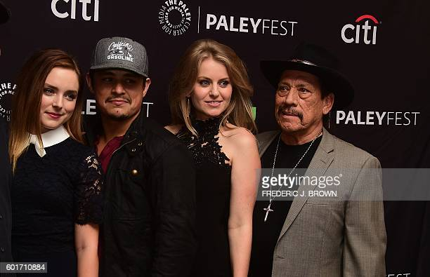 Madison Davenport Jesse Garcia Sarah Minnich and Danny Trejo staring in 'From Dusk Till Dawn' pose on arrival for the Paley Center For Media 's 10th...
