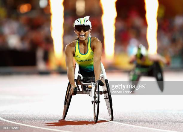 Madison de Rozario of Australia celebrates winning the Women's T54 1500m final during the Athletics on day six of the Gold Coast 2018 Commonwealth...
