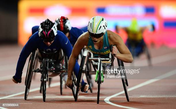 Madison de Rozario of Australia crosses the finish line to win gold in the final of the womens 5000m T54 on day nine of the IPC World ParaAthletics...