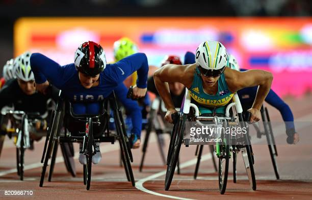Madison de Rozario of Australia in action during the final of the womens 5000m T54 on day nine of the IPC World ParaAthletics Championships 2017 at...
