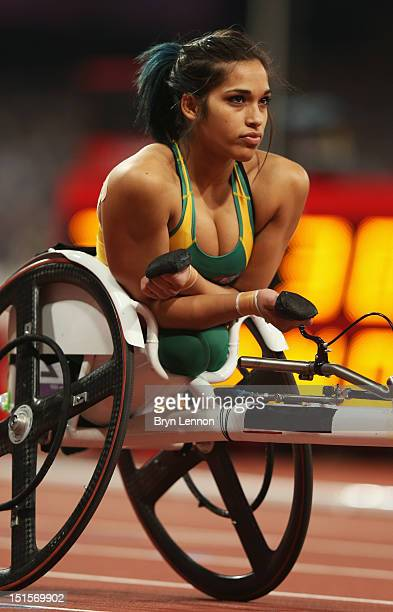 Madison De Rozario of Australia looks on prior to the Women's 400m T53 Final on day 10 of the London 2012 Paralympic Games at Olympic Stadium on...