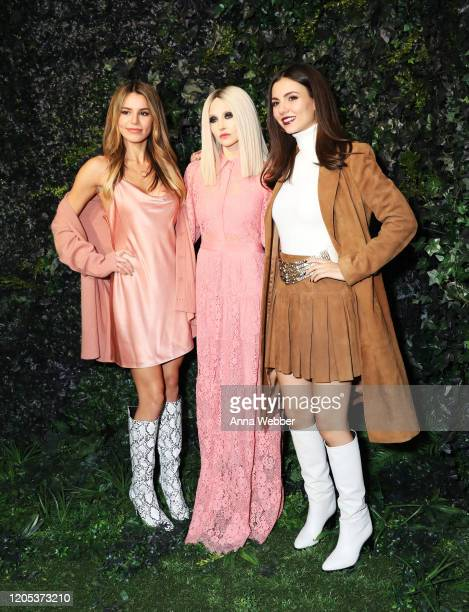Madison Grace Stacey Bendet and Victoria Justice attend the alice olivia by Stacey Bendet Fall 2020 presentation at Highline Stages on February 10...