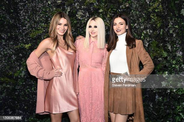 Madison Grace Stacey Bendet and Victoria Justice attend the Alice Olivia By Stacey Bendet fashion show during February 2020 New York Fashion Week The...