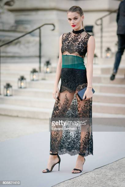 Madison Headrick wears a black and green lace dress outside the amfAR dinner at Petit Palais during Paris Fashion Week Haute Couture Fall/Winter...