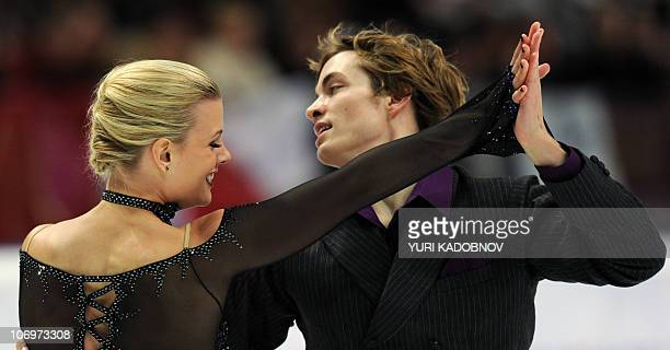 Madison Hubbel and Keiffer Hubbel of the US perform in the dance short skating programme at the ISU Grand Prix of Figure Skating Cup of Russia in...