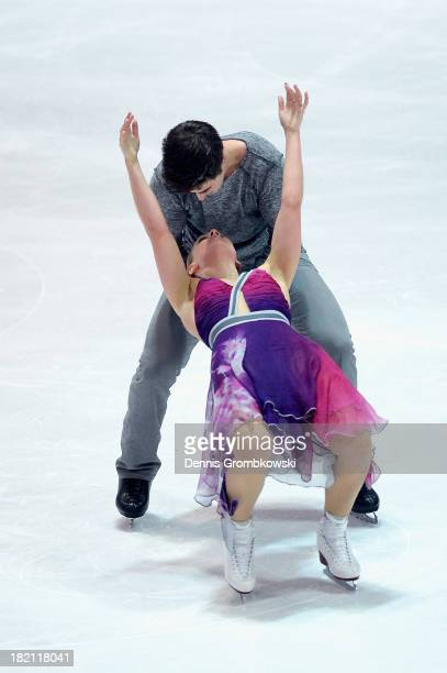 Madison Hubbel and Zachary Donohue of the United States compete in the Ice Dance Free Dance competition during day three of the ISU Nebelhorn Trophy...