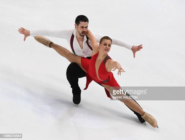 Madison Hubbell and her partner Zachary Donohue of the USA compete before scoring the highest points in the Ice Dance Rhythm Dance competition during...