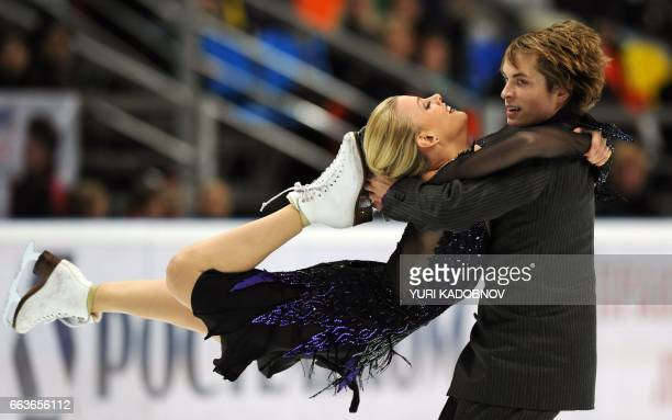 Madison Hubbell and Keiffer Hubbell of the US perform in the dance short skating programme at the ISU Grand Prix of Figure Skating Cup of Russia in...