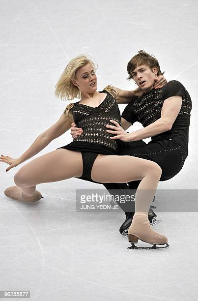 Madison Hubbell and Keiffer Hubbell of the US perform in the ice dance event of the ISU Four Continents Figure Skating Championships in Jeonju about...