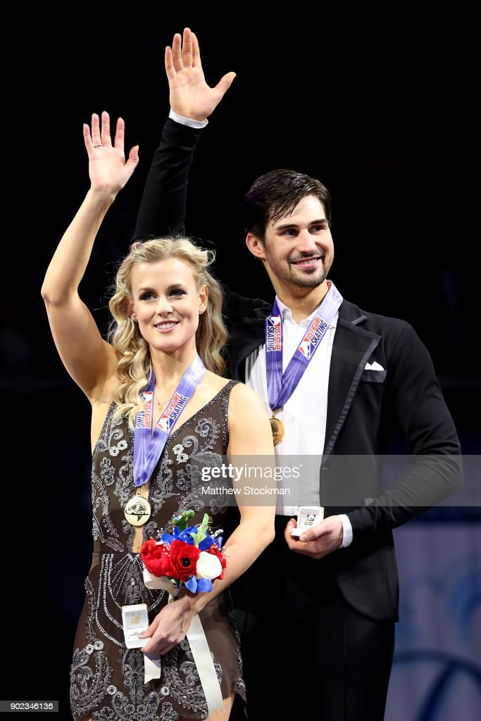 Madison Hubbell and Zachary Donohue celebrate on the medals podium for the Championship Dance during the 2018 Prudential U.S. Figure Skating Championships at the SAP Center on January 7, 2018 in San Jose, California.