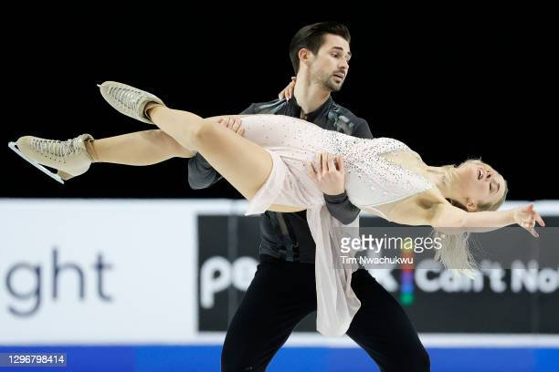 Madison Hubbell and Zachary Donohue compete during the U.S. Figure Skating Championships at the Orleans Arena on January 16, 2021 in Las Vegas,...