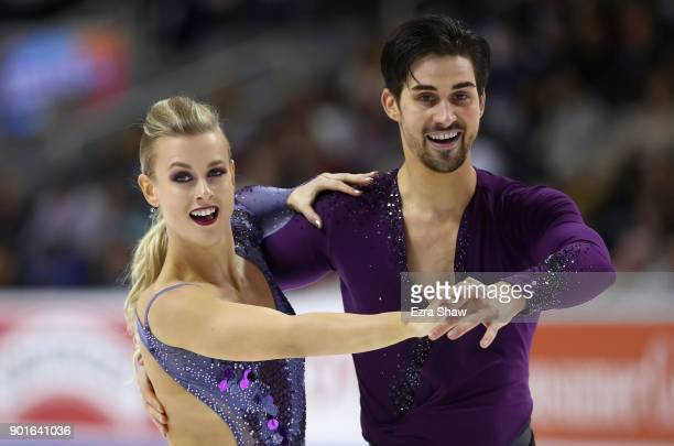 Madison Hubbell and Zachary Donohue compete in the Championship Dance Short Program during Day 3 of the 2018 Prudential US Figure Skating...