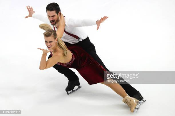 Madison Hubbell and Zachary Donohue compete in the Championship Rhythm Dance during the 2019 US Figure Skating Championships at Little Caesars Arena...