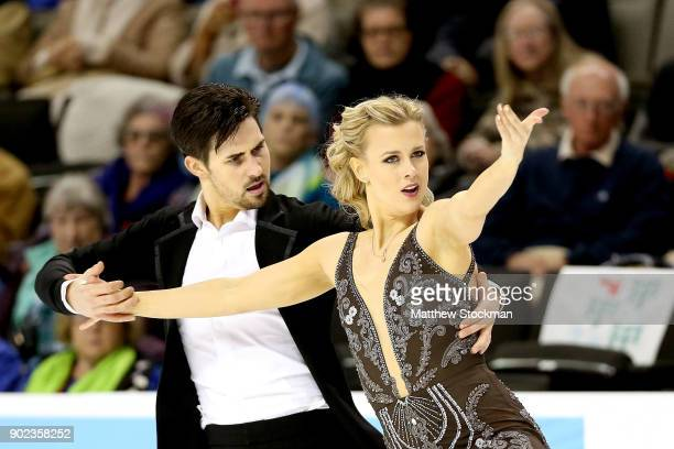 Madison Hubbell and Zachary Donohue compete in the Free Dance during the 2018 Prudential US Figure Skating Championships at the SAP Center on January...