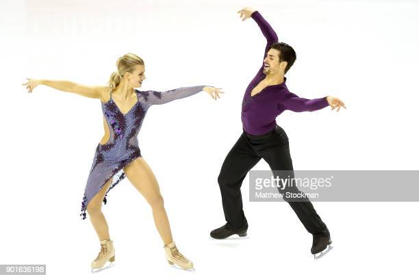 Madison Hubbell and Zachary Donohue compete in the Short Dance during the 2018 Prudential US Figure Skating Championships at the SAP Center on...