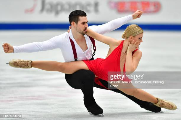 Madison Hubbell and Zachary Donohue of the United States compete in the Ice Dance Rhythm Dance on day three of the 2019 ISU World Figure Skating...