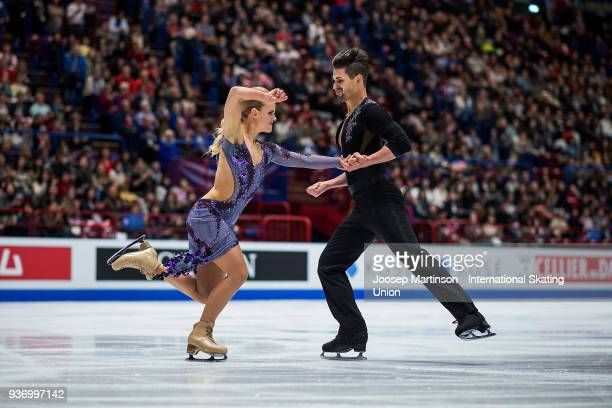 Madison Hubbell and Zachary Donohue of the United States compete in the Ice Dance Free Dance during day two of the World Figure Skating Championships...