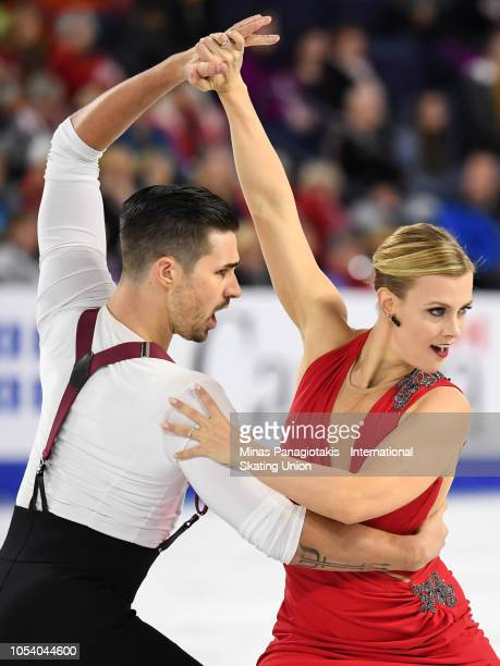 Madison Hubbell and Zachary Donohue of the United States compete on day one during the ISU Grand Prix of Figure Skating Skate Canada International at...