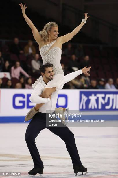 Madison Hubbell and Zachary Donohue of the United States perform during ice dance rhythm dance in the ISU Grand Prix of Figure Skating Skate America...