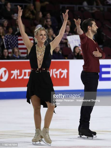Madison Hubbell and Zachary Donohue of the United States perform during ice dance free dance in the ISU Grand Prix of Figure Skating Skate America at...