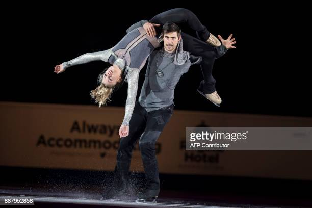 Madison Hubbell and Zachary Donohue of the United States skate their exhibition program at the ISU Grand Prix of Figure Skating's Skate Canada...