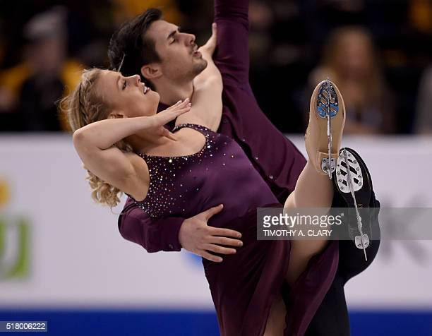 Madison Hubbell and Zachary Donohue of the US during the Ice Dance practice session March 29 2016 during the 2016 ISU World Figure Skating...