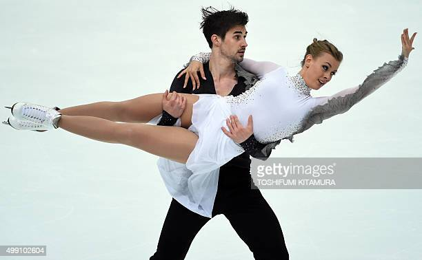 Madison Hubbell and Zachary Donohue of the US perform during the ice dance free dance at the ISU Grand Prix figure skating NHK Trophy in Nagano on...