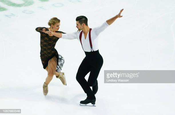 Madison Hubbell and Zachary Donohue of the USA compete during the Rhythm Dance on day two of the 2018 ISU Grand Prix of Figure Skating Skate America...