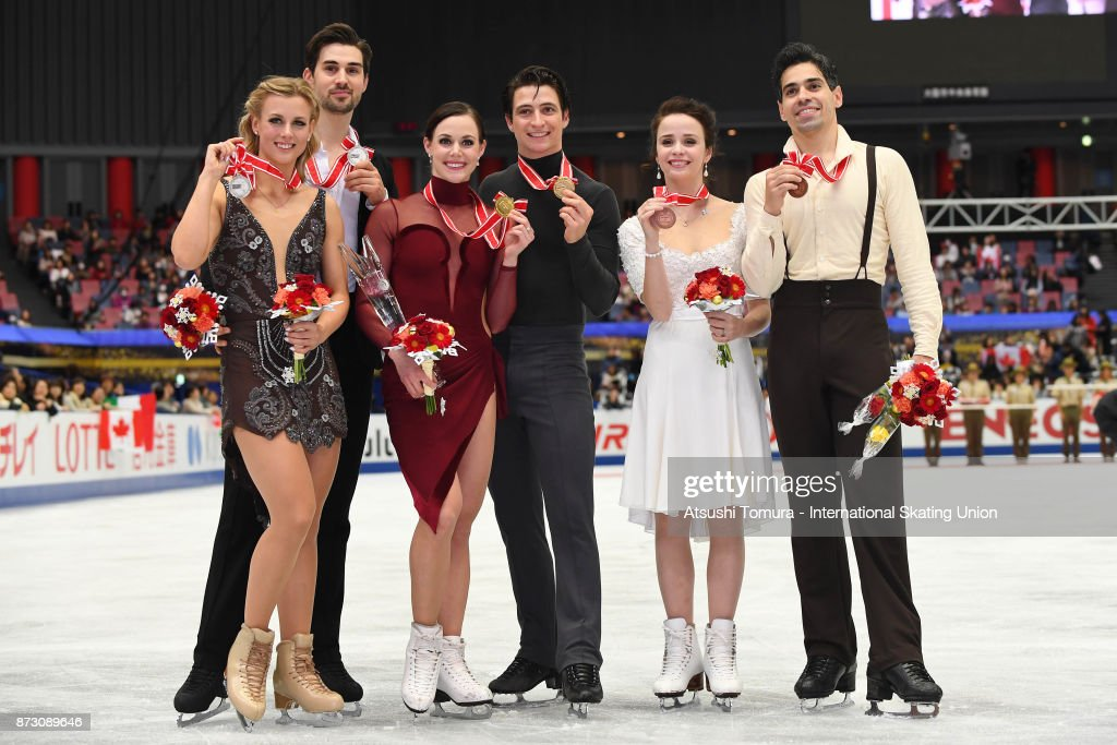 Madison Hubbell and Zachary Donohue of the USA (silcer), Tessa Virtue and Scott Moir of Canada (gold), Anna Cappellini and Luca Lanotte of Italy (bronze) pose wuth their medals during the ISU Grand Prix of Figure Skating at Osaka municipal central gymnasium on November 12, 2017 in Osaka, Japan.