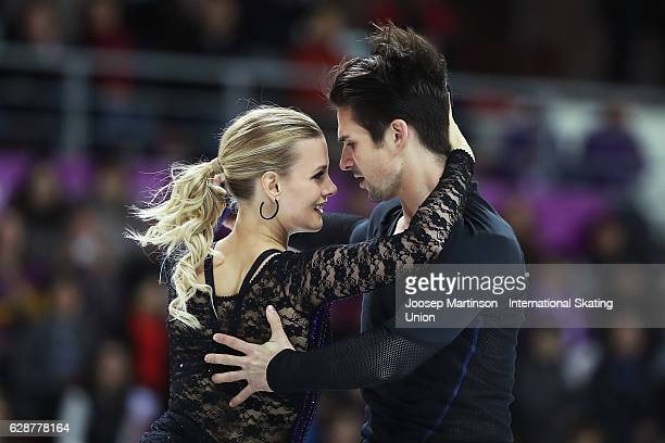 Madison Hubbell and Zachary Donohue of United States compete during Senior Ice Dance Short Dance on day two of the ISU Junior and Senior Grand Prix...