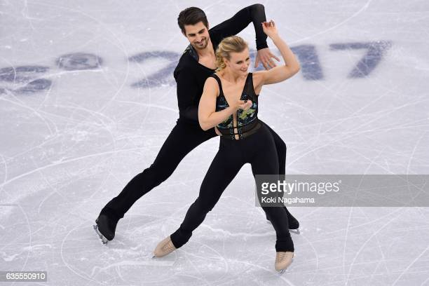 Madison Hubbell and Zachary Donohue of United States compete in the Ice Dance Short Dance during ISU Four Continents Figure Skating Championships...