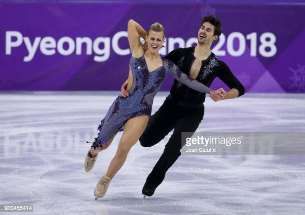 Madison Hubbell and Zachary Donohue of USA during the Figure Skating Ice Dance Short Dance program on day ten of the PyeongChang 2018 Winter Olympic...