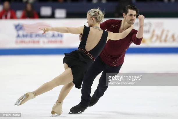 Madison Hubbell and Zachary Donohue skate in the Free Dance during the 2020 U.S. Figure Skating Championships at Greensboro Coliseum on January 25,...