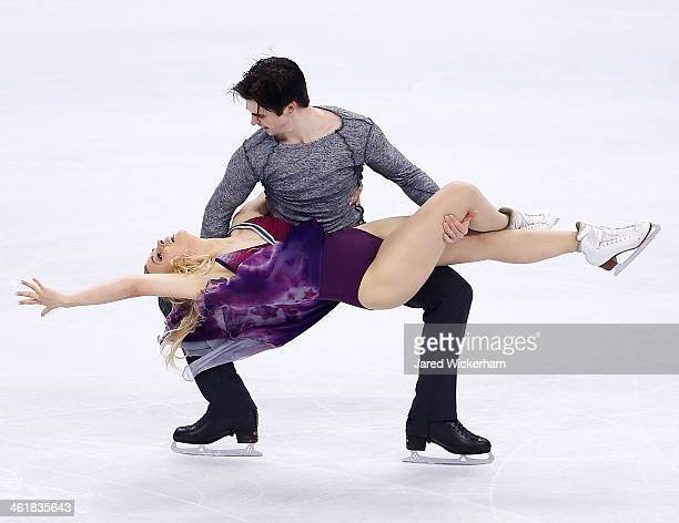 Madison Hubbell and Zachary Donohue skate in the free dance program during the 2014 Prudential US Figure Skating Championships at TD Garden on...