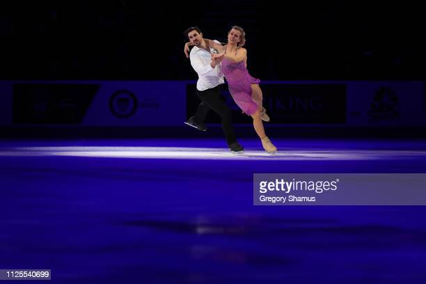 Madison Hubbell and Zachary Donohue skate in the skating spectacular after the 2019 US Figure Skating Championships at Little Caesars Arena on...
